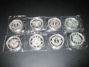 Complete 8 Coin Set Of China Dragon Restrike 1 Oz. Silver Coins - Mint Sealed