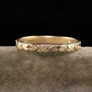 Antique Art Deco 14k Yellow Gold Heart Engraved Wedding Band - Size 11 1/4