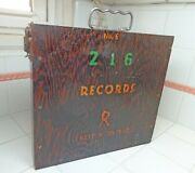 Vtg Wooden Record Case Holder For 78 Rpm Records Hamilton Metal Products Climax
