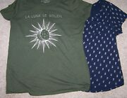 Torrid Green La Lune Blue Feather Graphic Tee Shirts Lot Of 2 Womens Plus Size 2