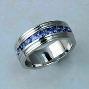 0.50 Ct Round Blue Sapphire Channel Set Men's Engagement Ring 14k White Gold Ove