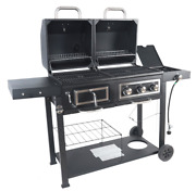 Heavy Duty Dual Fuel Gas Charcoal Combo Grill Bbq Barbecue Smoker Outdoor Cooker