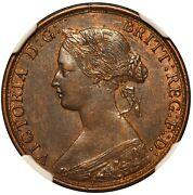 1864 Canada New Brunswick 1 One Cent Bronze Coin - Ngc Au 58 Bn - Km 6