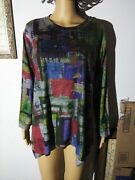 Inoah Colorful Long Sleeve Tunic Top Shirt Womenand039s Size Small Made In Usa
