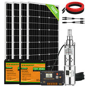 3and039and039 Dc Solar Submersible Bore Water Pump Deep Well Complete Pump Kit+solar Panel