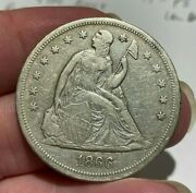1866 Liberty Seated Silver Dollar Extra Fine Xf Rare Date