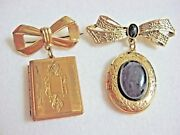 Lot 2 Vintage Brooch Pin Lockets Dangling Charms Gold Plated