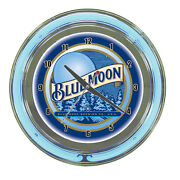 Blue Moon Beer Logo Sign 2 Ring Blue/white Neon Clock - Awesome