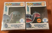 Funko Pop Stitch With Record Player - Chase And Common Pop Set With Protectors