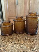 Vintage Indiana Tiara Glass Amber Sandwich 3 Piece Apothecary Canister Set