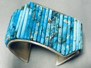 One Of The Best Ever Vintage Navajo Turquoise Inlay Sterling Silver Bracelet