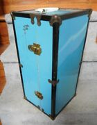 Vintage Ideal Metal Blue Doll Clothes And Doll Trunk For Up To 17 Doll