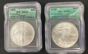 2004 And 2005 American Silver Eagle 1 Oz Coin Icg Ms 70 Green Label - 2 Coin Set
