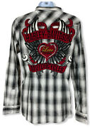 Harley Davidson Applique/embroidered Pearl Snap Shirt-roll Tab Womens Size S-nwt
