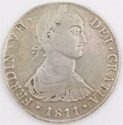 1811 Peru 8 Reales Silver Coin Lima Jp Km106.2 Ef
