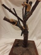 Large Vintage Lois Palmer Huth Clay Children Climbing On Tree Statue With Dog