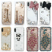 Diamonds Soft Phone Cases + 2 Glass Screen Protector Films + Crystals Lanyard B