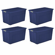 Large Plastic Storage Box 45 Gallon Container Bin With Wheels Lid Latch Set Of 4