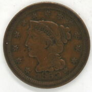 1850 Braided Hair Large Penny Us One Cent Copper Coin United States Philadelphia