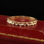 Antique Art Deco 14k Yellow Gold Engraved Wedding Band - Size 5 1/2