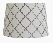 Allen Roth Lamp Shade Set Of 2–used, In Perfect Cond. Grey Quatrefoil Embroidery