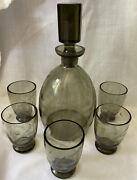Art Deco Moser Smoked Wheel Cut Crystal Liquor Decanter Set W/5 Footed Glasses