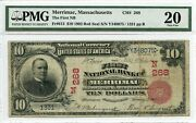 Fr. 613 1902 Red Seal 10 Ch 268 National Bank Note Pmg 20 Vf 2400 Dfp
