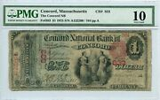 Fr. 383 1875 1 Ch 833 National Bank Note Concord Massachusetts Pmg 10 Vg