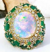 Igi Certified 6.80 Ct Natural Opal Emerald Solid 14k Yellow Gold Diamond Ring