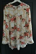 New Fred David Chic Shirt Button Tunic Blouse Floral Top Rayon Plus Size 2x