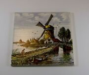 Vintage 6 Square Hand Painted Windmill Tile Made In Holland Dutch Souvenir Folk