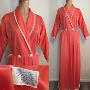 Vanity Fair 50s/60s Vintage Coral Nylon Long Robe 36 Dressing Gown Pockets Lace