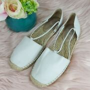 Eileen Fisher Shoes Flats Sandals Espadrille Women's Size 8 White Leather