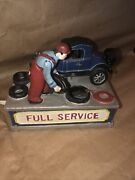 Vintage Cast Iron Full Service Auto Shop Mechanical Coin Bank Gas Oil Station