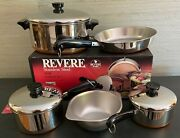 New Vintage Revere Ware Copper Clad Bottom Stainless Steel 8 Pc Set Usa Made