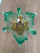 Vintage Murano Sommerso Venetian Art Glass Yellow And Green