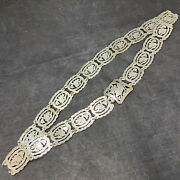 Vintage Straits Peranakan Chinese Silver Belt 32 Inches Long Floral Animal
