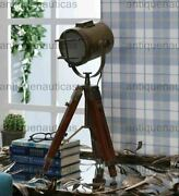 Antique Small Desk Table Lamp Searchlight Vintage Spot Light Tripod Stand Gift