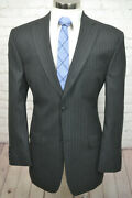 Haggar Mens Gray 2 Button Pinstripe Pleated Front 2 Piece Suit 42l 35wx30l