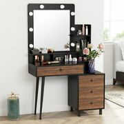 Hot Vanity Table,vintage Makeup Dressing Table W/ Large Drawer And 3-drawer Chest