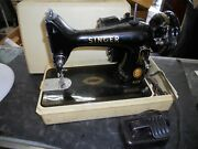 Vintage Singer Sewing Machine 99k With Foot Controller And Carrying Case