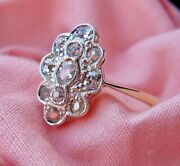 Victorian 18ct Gold 1ct Old Mine Cut Diamond Marquise Navette Ring