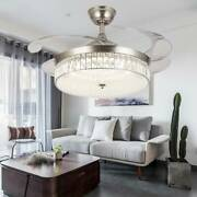 36/42 Modern Crystal Ceiling Fan Light Led Chandelier Invisible Remote Control