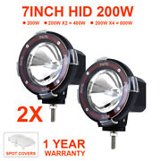 2x 7 Hid Driving Lights Spotlight Beam Work Lamp Fit For Offroad Atv Suv 200w