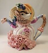 Vintage Fitz And Floyd Fancy Fox Lady Teapot And Lid 38oz Stamped Ff 1991