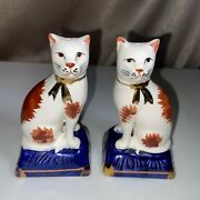 Staffordshire Fitz And Floyd Cat Salt And Pepper Shakers Gold Trim