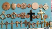 Vintage Religious Various Mostly Medal Prayer Crosses Nice Lot Of 33