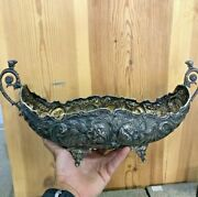 Antique Old Very Rare European Style 900 Silver Handcrafted Basket Hand Engraved