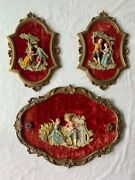 Vintage Depose Made In Italy 3 Pcs Resin Victorian Couple Wall Hangings