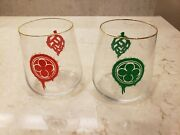 Monkish Glass - Red And Green Drip Hop Tumblers 2 Glasses 13.5 Oz
